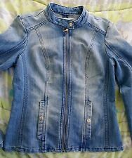 NWT GUESS Denim Jacket Zip Front Fitted Guess Jean Jacket Blue Medium M