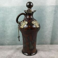 Victorian Royal Doulton Stoneware Whisky Bottle  Silver Stopper Lock
