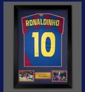 Framed Ronaldinho Signed Barcelona Football Shirt £299 Becketts Authenticated