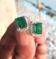 2.50Ct Emerald Cut Green Emerald Halo Stud Earrings 14k White Gold Over