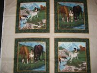 Horses Pillow Panels Mountain Valley Ranch Foals Colts Set Of 4 on Cotton Fabric