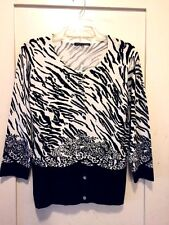 Pierri B & W Animal Print Cardigan Sweater/Top Beaded Small