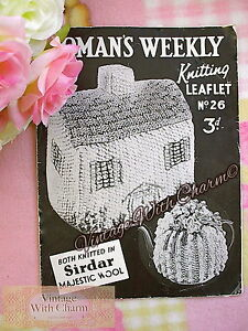 Vintage 1940s Tea Cosy Knitting Pattern 2 Styles Cottage Or Flower Topped
