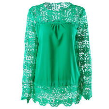Plus Size S-5XL US Women Long Sleeve Shirt Casual Lace Loose Casual Tops Blouse