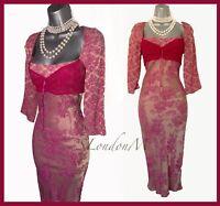 Karen Millen UK 10 Pink Floral Jacquard 3/4 Sleeves Casual Party Prom Dress EU38
