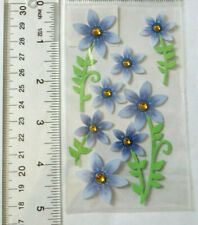 Sandylion Country Blues - 1 Sheet of Blue Flowers With Gems Stickers 'See Ruler'