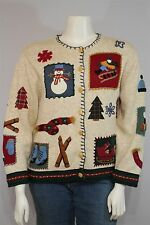 Susan Bristol Misses XL Oatmeal Christmas Holiday LS Cardigan Sweater Jacket