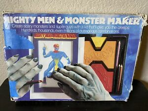 Vintage 1979 TOMY Mighty Men and Monster Maker Drawing Set In Box COMPLETE