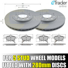 VAUXHALL ASTRA MK5 H 2004-2011 2 X FRONT BRAKE DISCS AND & PADS SET 5 STUD 280mm
