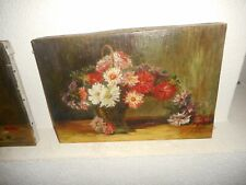 Old oil painting 2.{ signed Hertleer 1933, Still life with pretty flowers }