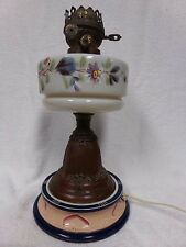 Antique oil kerosene lamp painted flowers glass parts electric England