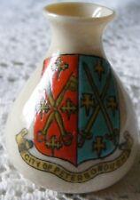 Arcadian  1924  City  Of  Peterborough  Crested  China  Miniature  Vase  Model