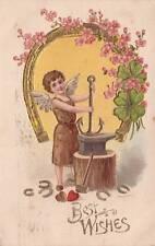 Antique GREETINGS POSTCARD Boy Angel Anvil Gold Horseshoe Clover Emb. 14713