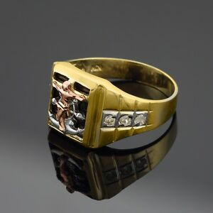 Multi-Tone Gold Mariner's Cross on Black Onyx Men's Ring