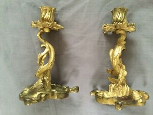 Antique French Gilt Bronze Rococco Candlesticks.