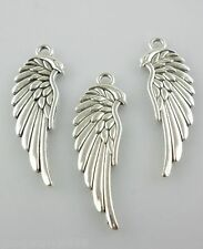 32pcs Tibetan Silver Angel Wings Charms Pendants Crafts Beads 11*33mm