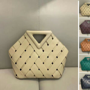 Triangle Top Handles Woven Real Leather Tote Basket Bag w/ Drawstring Pouch