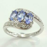 9ct White Gold Tanzanite & Diamond Twist Shoulder Ring