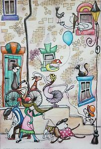 Original Naive Abstract Street Scene Painting By Claire Shotter. Dogs. People
