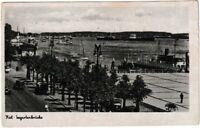Ansichtskarte Kiel - Blick auf die Seegartenbrücke mit Schiffen - schwarz/weiß