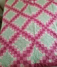 """Handmade Patchwork Quilt - Pink/Green - Reversible - Excellent Condition -75"""" Sq"""
