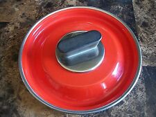 "ORANGE RED ENAMELED METAL KITCHEN REPLACEMENT 6"" LID w/ KNOB STOVE POT or PAN"