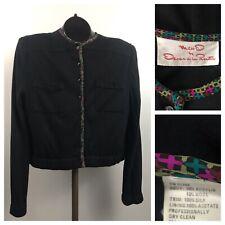 1980s Oscar De La Renta Blouse Top / Designer Black Crop Sweater Top / Large
