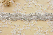 Pearl Beaded Applique Wedding Diamante Chain Bridal Rhinestone Ribbon Trimming