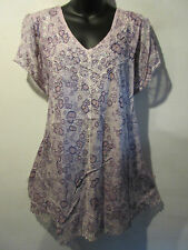 Top Fits XL 1X 2X Plus Tunic Purple Watercolor  Sequins V Neck A Shape NWT 776