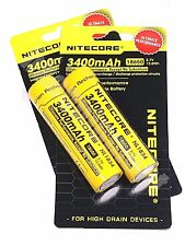 Nitecore 18650 3400 NL1834 NL189 3.7v Protected Li-ion Rechargeable Battery x2