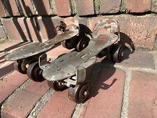 vintage Antique Steel Roller Skates with Rare Ribbed Wheels, Adjustable