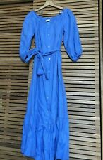 ZARA blue Pure LINEN  Bardot Maxi Dress belted long  M