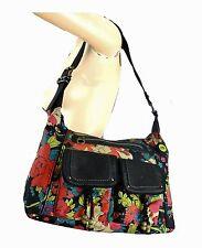 Designer Purse Vintage SAKROOTS Artist Peace Pink Floral Canvas Shoulder Handbag