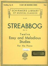 Schirmer Piano STREABBOG ~ TWELVE  EASY AND MELODIOUS STUDIES Vol. 479 Op 64 New