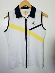1 NWT SPORT HALEY WOMEN'S S/L POLO, SIZE: SMALL, COLOR: WHITE/NAVY/YELLOW (J168)
