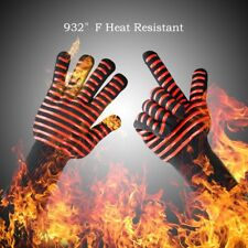 1 PAIR 932°F Hot Heat Proof Resistant Gloves Oven Mitts Silicone BBQ Grill Bake
