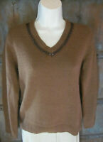 Faconnable Women Size S Brown Wool Pullover Sweater Embellished Knit V-Neck Top