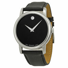 Movado 2100002 Museum Black Leather Analog Quartz Men's Watch