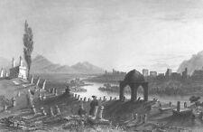 Turkey ANTIOCH ANTAYKA CEMETERY ORONTES RIVER 1836 LANDSCAPE Art Print Engraving