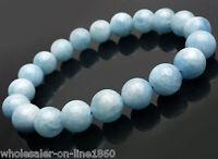 Natural 10mm Aquamarine Round Gemstone Beads Stretchy Bracelet Bangle