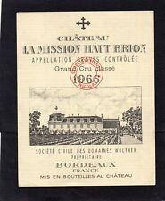 GRAVES GCC ETIQUETTE CHATEAU LA MISSION HAUT BRION 1966 ETS NICOLAS  §13/11/17§
