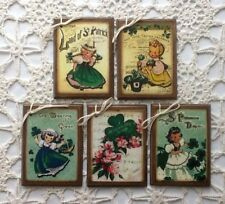 **NEW** 5 St. PATRICK'S DAY Wooden Handcrafted Ornaments / Hang Tags  Set4jj