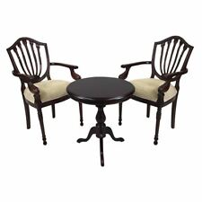 Solid Mahogany Wood Table Set with 2 x Arm Chairs Antique Hyper Flute Leg Design