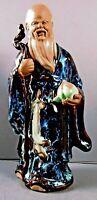 "Asian 002 Figure w/Beard 8"" Tall Peach Staff Chinese Shiwan Ceramic Art Pottery"