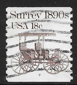 U.S. Scott #1907 18c Surrey Stamp USED PS1 Plate #7 VF Cat. $6.95