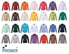 Premier Damen Bluse Langarm Uni Business Hemd Übergröße Gr.34-54 versch. Farben