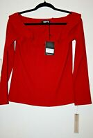 NWT Reformation EMMELINE Top Cherry Red Ruffle Knit Longsleeve Size XL