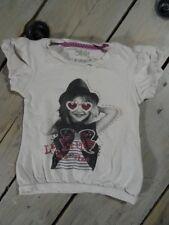 T-shirt manches courtes blanc imprimé fillette noir et blanc SHINY Taille 4 ans