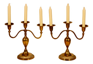 Vintage English Hollywood Regency Brass Candelabras - a Pair