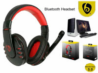 Gaming Wireless Bluetooth Stereo Headset Headphones w/ Mic For PC Smart Phone